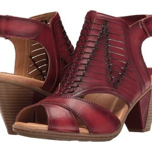 Earth Libra Regal Red Soft Leather Peep Toe Shoes